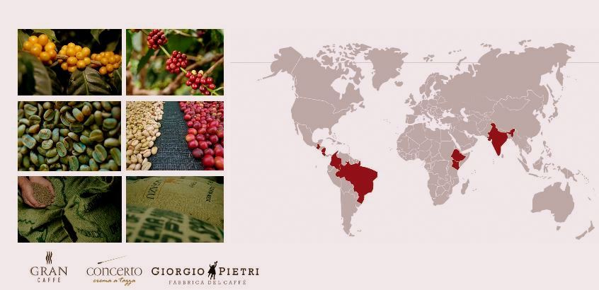 Local area - 8 countries from which La Frianderie's coffee blend comes from