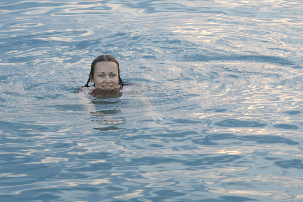 Swimming in the secluded bay near Porto Cheli
