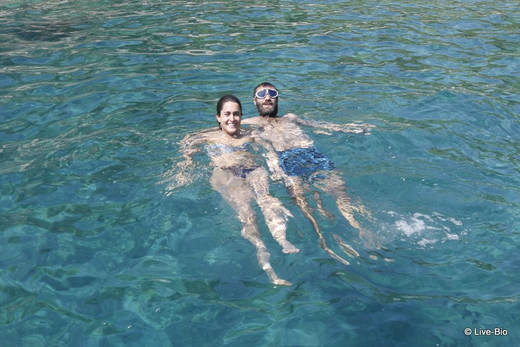 Swimming in the crystal clear waters of the Aegean.