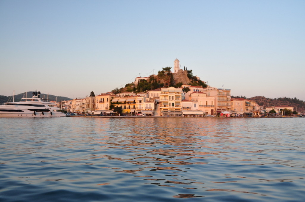 View on Poros town from the sailing boat