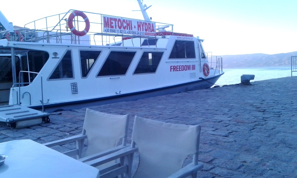 With this cute, little boat you can get from Hydra to Metochi, which is 30min drive from Live-Bio