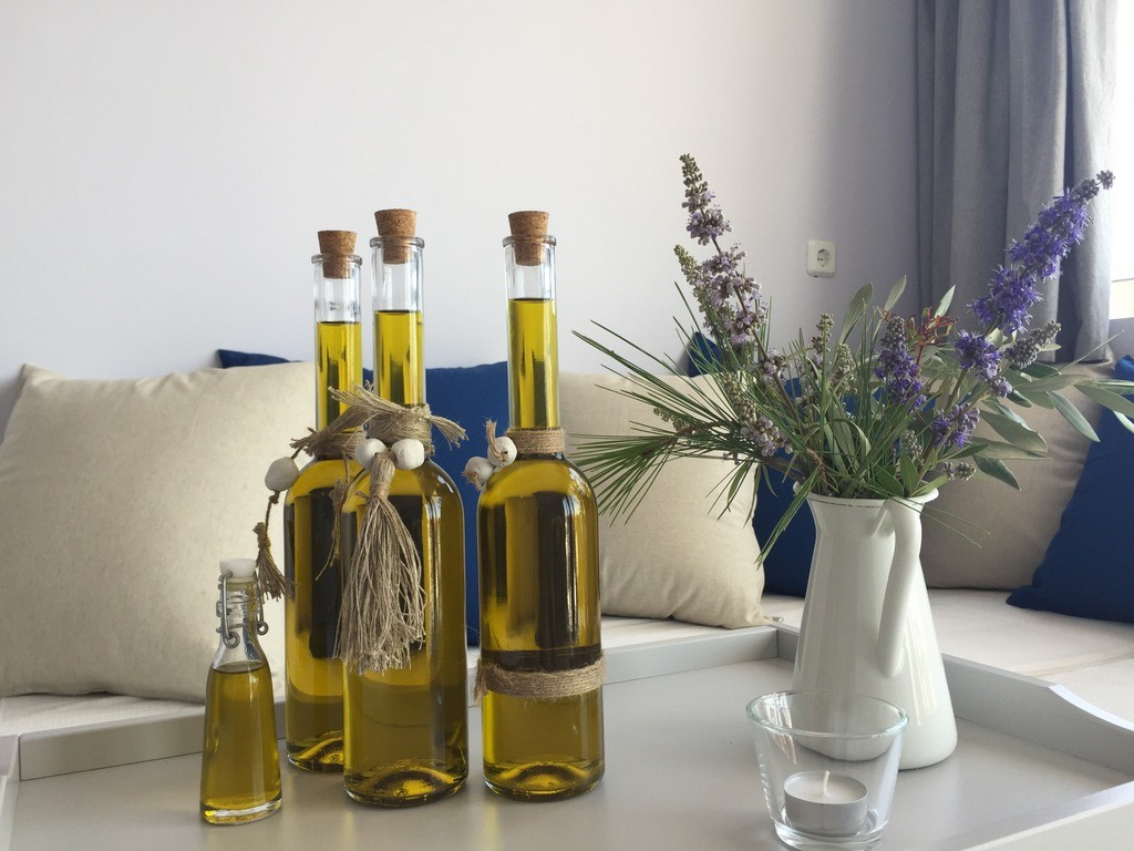 Live-Bio's organic olive oil is produced from the olive trees surrounding the property. You get to taste it while staying with them!