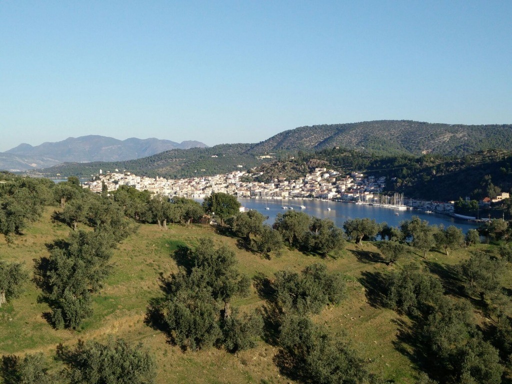 Each apartment at Live-Bio has a private balcony with this stunning view to Poros island and the Aegean sea