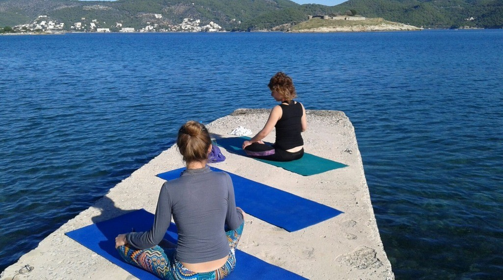 Morning yoga session with Sasha, the Israeli guest who was also staying with Live-Bio at the time.