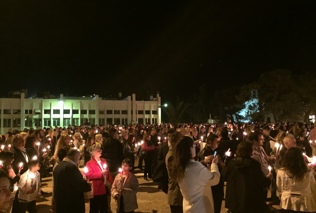 Beautiful ceremony of the holy light on Easter Saturday