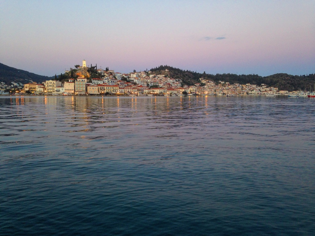 Poros island by sunset