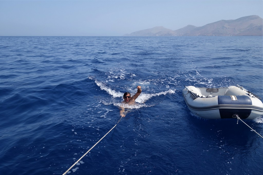 Sailing the Aegean sea (some of us decided to cool off ;-))
