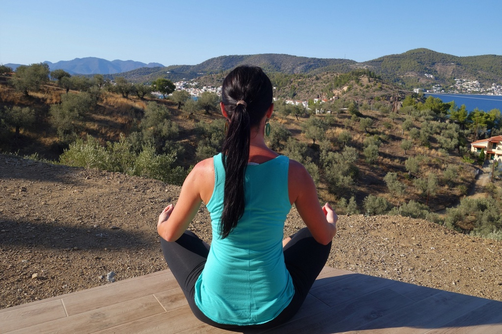 Meditating at Live-Bio Poros, Greece