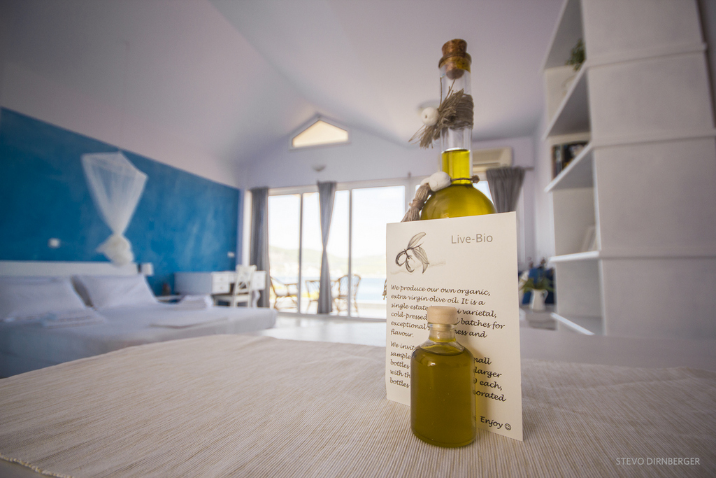 We produce our own organic, extra virgin, single estate olive oil, which you will be able to sample. If you enjoy it, we have hand decorated bottles available for you to purchase