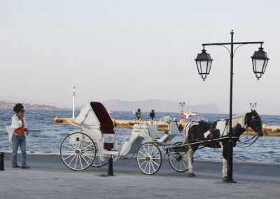 Horse carriages is a means of transport on Spetses