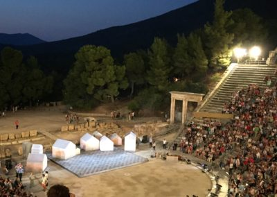 Watching a theatre play at the Ancient Epidaurus Theatre