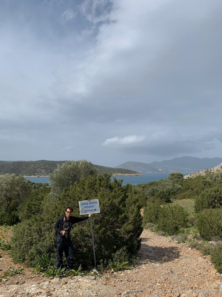 Poros lighthouse hike begins here